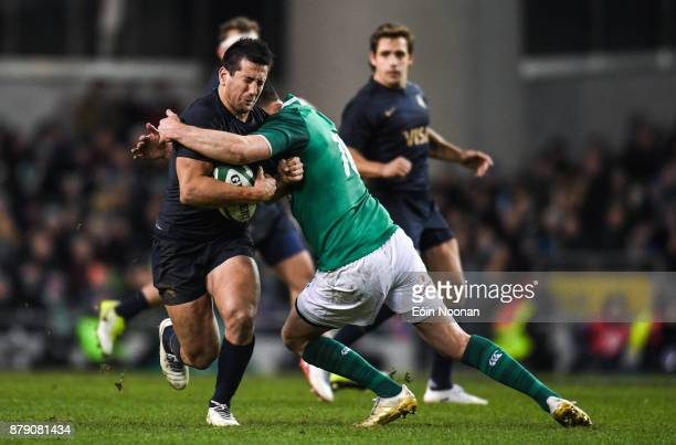 Dublin Ireland 25 November 2017 Santiago Gonzalez Iglesias of Argentina is tackled by Jonathan Sexton of Ireland during the Guinness Series...