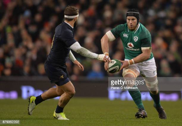 Dublin Ireland 25 November 2017 Sean O'Brien of Ireland in action against Ramiro Moyano of Argentina during the Guinness Series International match...