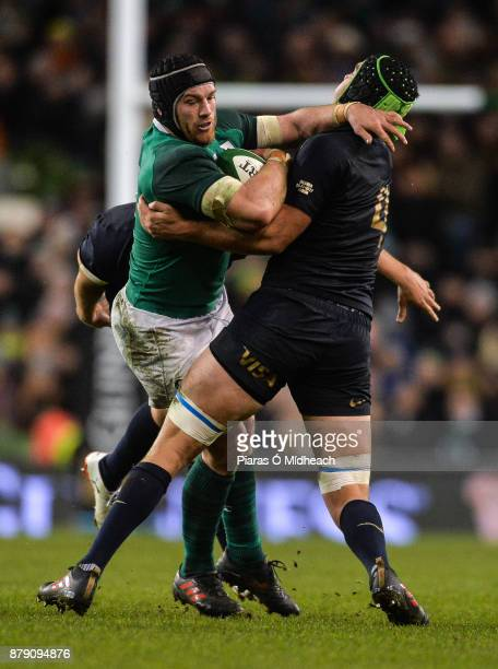 Dublin Ireland 25 November 2017 Sean O'Brien of Ireland is tackled by Tomas Lezana and Matias Alemanno of Argentina right during the Guinness Series...