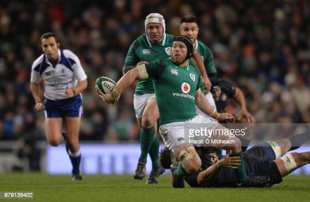 Dublin Ireland 25 November 2017 Sean O'Brien of Ireland is tackled by Pablo Matera of Argentina during the Guinness Series International match...