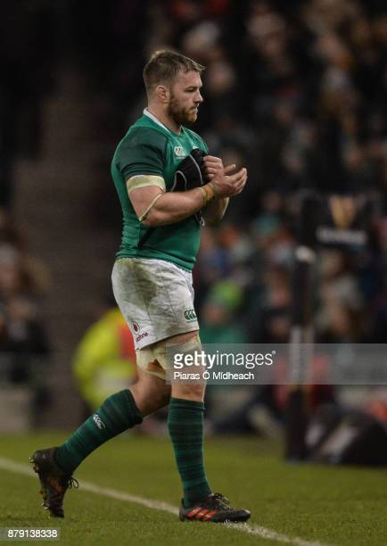 Dublin Ireland 25 November 2017 Sean O'Brien of Ireland leaves the field after being substituted during the Guinness Series International match...