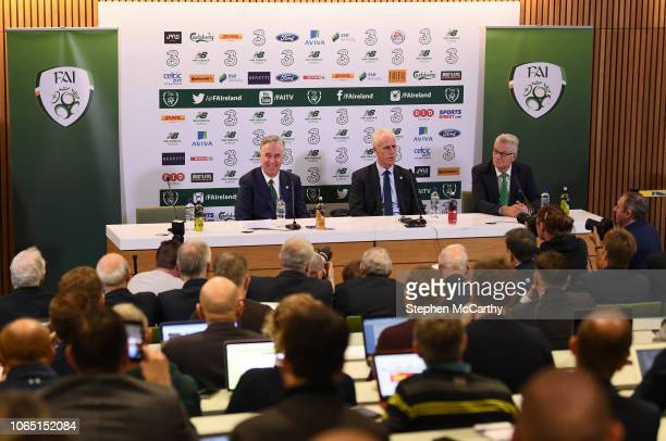 Dublin , Ireland - 25 November 2018; Newly appointed Republic of Ireland manager Mick McCarthy, centre, with FAI High Performance Director, Ruud...