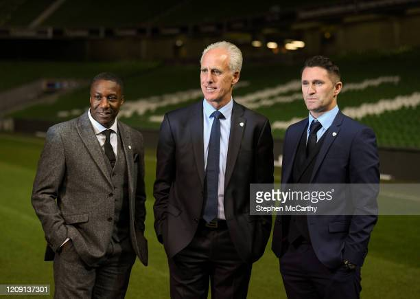 Dublin , Ireland - 25 November 2018; Newly appointed Republic of Ireland manager Mick McCarthy, centre, with assistant coaches Terry Connor, left,...