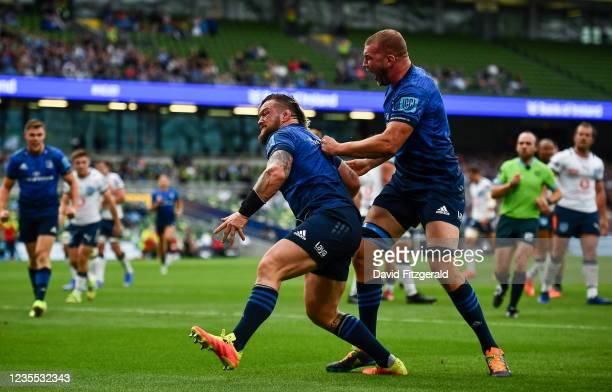Dublin , Ireland - 25 September 2021; Andrew Porter of Leinster celebrates after scoring his side's second try with Ross Molony during the United...