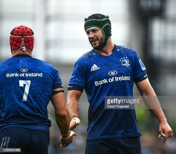 Dublin , Ireland - 25 September 2021; Caelan Doris of Leinster, right, with Josh van der Flier during the United Rugby Championship match between...