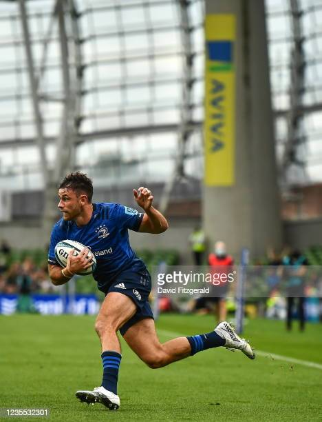 Dublin , Ireland - 25 September 2021; Hugo Keenan of Leinster during the United Rugby Championship match between Leinster and Vodacom Bulls at Aviva...