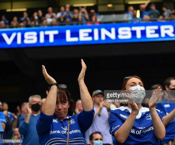 Dublin , Ireland - 25 September 2021; Leinster supporters prior to the United Rugby Championship match between Leinster and Vodacom Bulls at Aviva...