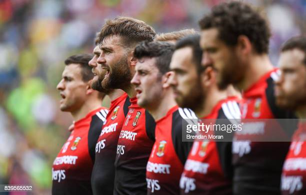 Dublin Ireland 26 August 2017 Aidan O'Shea and his Mayo teammates stand for the national anthem before the GAA Football AllIreland Senior...