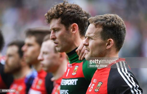 Dublin Ireland 26 August 2017 Andy Moran of Mayo and his teammates stand for the national anthem before the start of the GAA Football AllIreland...