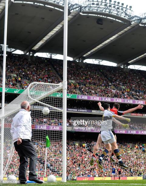 Dublin Ireland 26 August 2017 Diarmuid O'Connor of Mayo scores his side's first goal past Brian Kelly of Kerry during the GAA Football AllIreland...