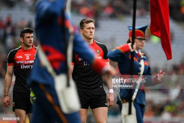 Dublin Ireland 26 August 2017 The Mayo captain Cillian O'Connor leads the team in the traditional pre match parade before the GAA Football AllIreland...
