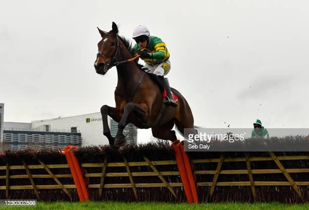 Dublin , Ireland - 26 December 2020; Get My Drift, with Jody McGarvey up, jumps the last on their way to winning the Join tote.ie With A 10 Risk Free...