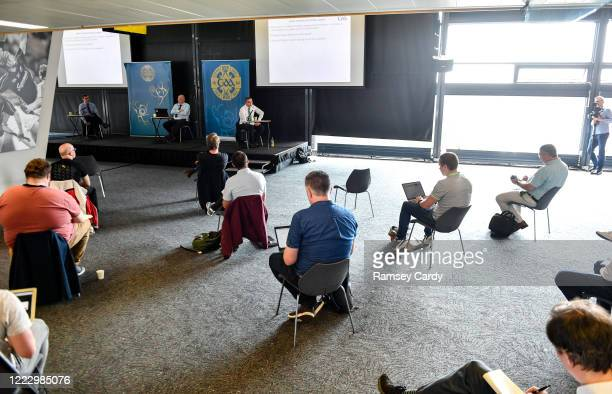 Dublin , Ireland - 26 June 2020; Journalists maintain social distancing guidelines during the GAA fixtures press conference at Croke Park in Dublin....