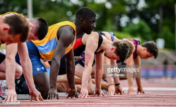 Dublin , Ireland - 26 June 2021; Israel Olatunde of UCD AC, Dublin, settles into his blocks before competing in the Men's 100m heats during day two...