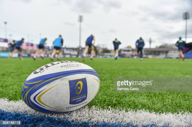 Dublin Ireland 26 March 2018 A European Champions Cup match ball during Leinster Rugby squad training at Energia Park in Donnybrook Dublin