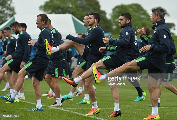 Dublin Ireland 26 May 2016 Republic of Ireland players from left Glenn Whelan Shane Long Robbie Brady and Jonathan Walters during squad training in...