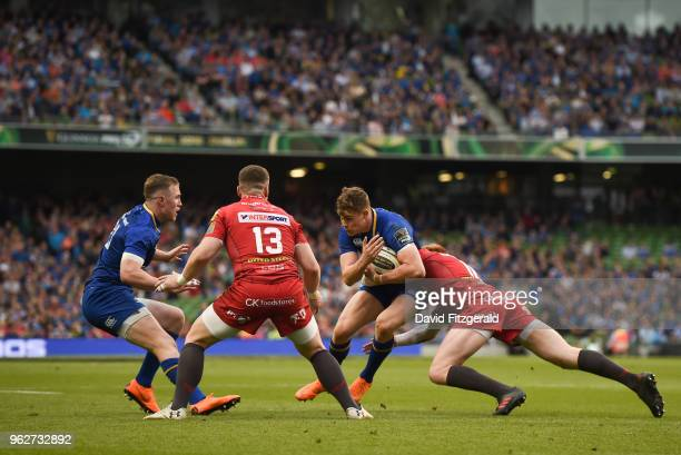 Dublin Ireland 26 May 2018 Garry Ringrose of Leinster is tackled by Rhys Patchell of Scarlets during the Guinness PRO14 Final between Leinster and...