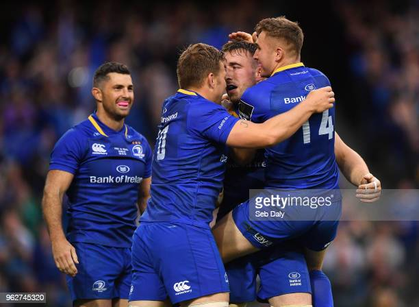 Dublin Ireland 26 May 2018 Jack Conan of Leinster centre celebrates with teammates Rob Kearney Jordi Murphy and Jordan Larmour after scoring his...