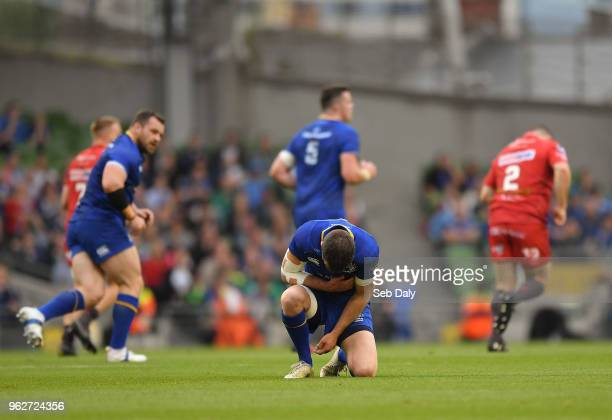 Dublin Ireland 26 May 2018 Jonathan Sexton of Leinster reacts following a tackle by Scott Williams of Scarlets during the Guinness PRO14 Final...