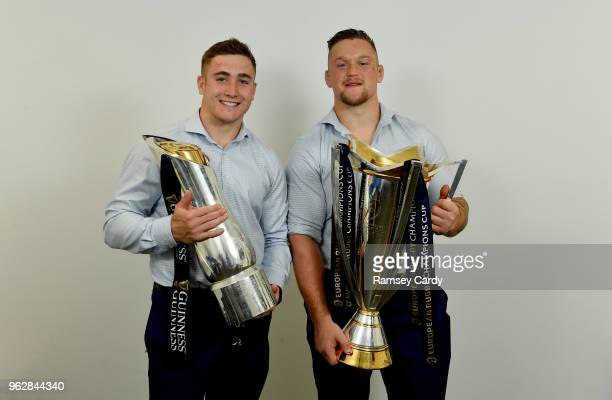 Dublin Ireland 26 May 2018 Jordan Larmour left and Andrew Porter of Leinster with the Champions Cup and PRO14 trophies following the Guinness PRO14...