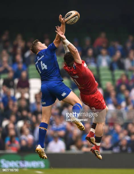 Dublin Ireland 26 May 2018 Jordan Larmour of Leinster in action against Steff Evans of Scarlets during the Guinness PRO14 Final between Leinster and...
