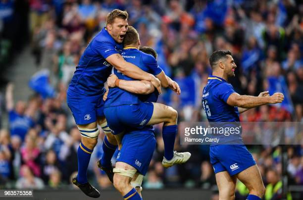 Dublin Ireland 26 May 2018 Jordi Murphy left and Rob Kearney of Leinster celebrates after his sides fifth try during the Guinness PRO14 Final between...