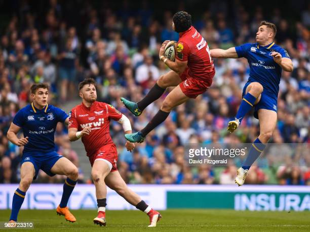 Dublin Ireland 26 May 2018 Leigh Halfpenny of Scarlets in action against Jordan Larmour of Leinster during the Guinness PRO14 Final between Leinster...