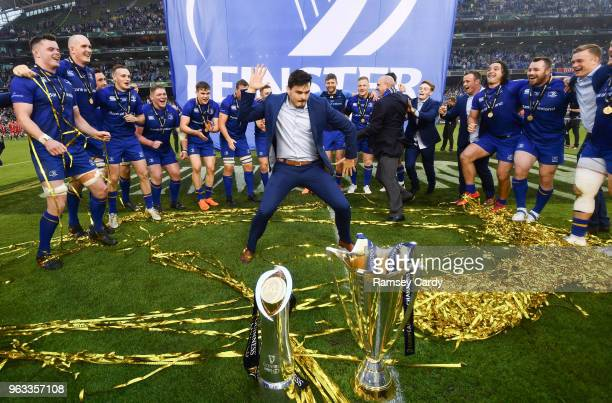Dublin Ireland 26 May 2018 Max Deegan of Leinster dances following their victory in the Guinness PRO14 Final between Leinster and Scarlets at the...