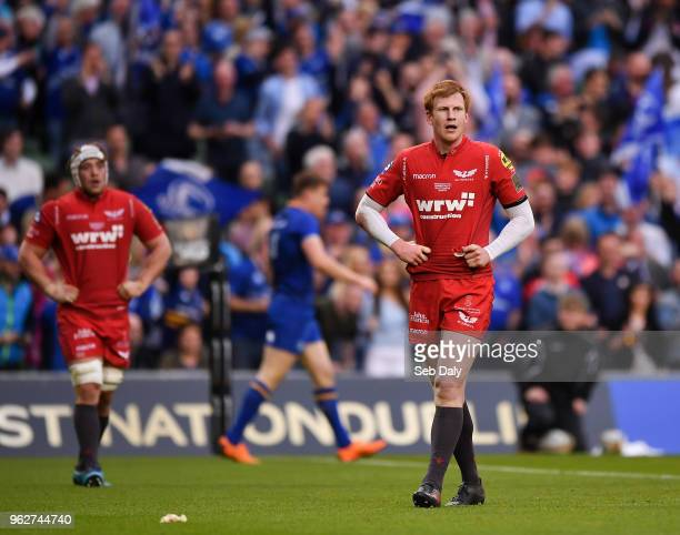 Dublin Ireland 26 May 2018 Rhys Patchell of Scarlets reacts after his side concede a fourth try during the Guinness PRO14 Final between Leinster and...