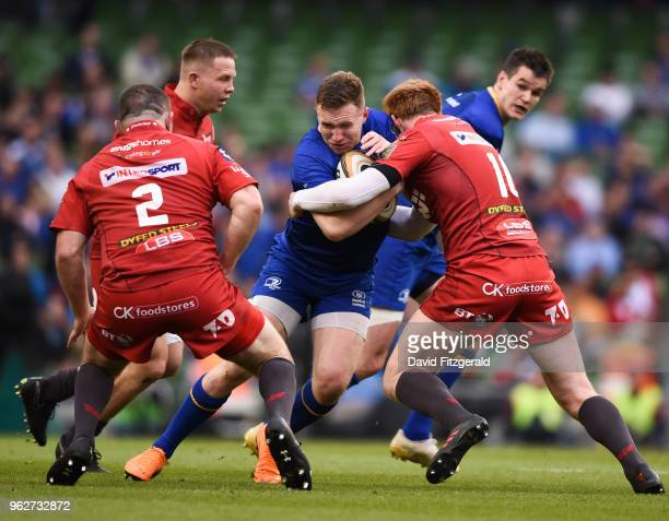Dublin Ireland 26 May 2018 Rory OLoughlin of Leinster is tackled by Rhys Patchell of Scarlets during the Guinness PRO14 Final between Leinster and...