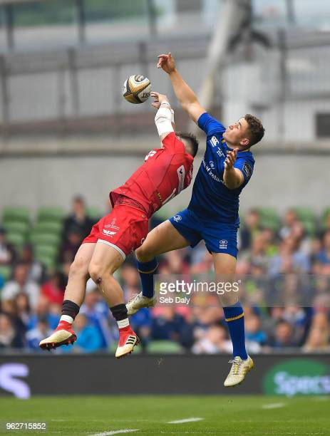 Dublin Ireland 26 May 2018 Steff Evans of Scarlets in action against Jordan Larmour of Leinster during the Guinness PRO14 Final between Leinster and...