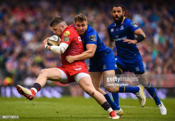 Dublin Ireland 26 May 2018 Steff Evans of Scarlets is tackled by Jordan Larmour of Leinster during the Guinness PRO14 Final between Leinster and...