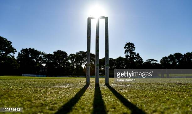 Dublin , Ireland - 26 September 2020; A general view of the stumps ahead of the Test Triangle Inter-Provincial Series 50 over match between Leinster...