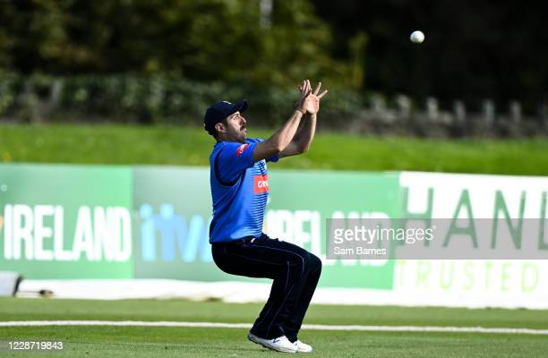 Dublin , Ireland - 26 September 2020; Tyrone Kane of Leinster Lightning catches out Neil Rock of Northern Knights during the Test Triangle...