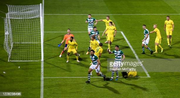 Dublin , Ireland - 27 August 2020; Roberto Lopes of Shamrock Rovers celebrates after scoring his side's second goal during the UEFA Europa League...