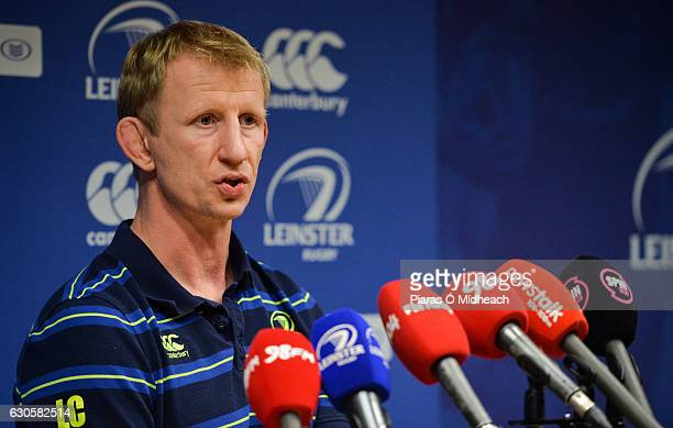 Dublin Ireland 27 December 2016 Leinster head coach Leo Cullen during a press conference at Leinster Rugby HQ Belfield Dublin