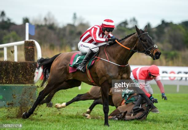 Dublin Ireland 27 December 2018 Paloma Blue left with Mark Walsh up on their way to winning as Real Steel right with Paul Townsend up falls at the...