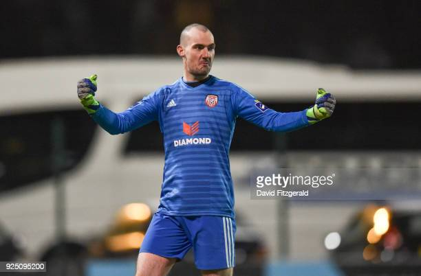 Dublin Ireland 27 February 2018 Gerard Doherty of Derry City celebrates following the SSE Airtricity League Premier Division match between Bohemians...