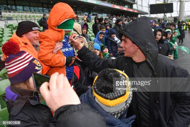 Dublin Ireland 27 February 2018 Joey Carbery meets supporters at an Ireland rugby open training session at the Aviva Stadium in Dublin