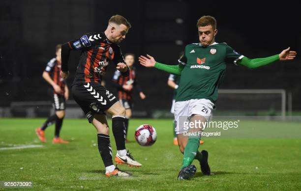 Dublin Ireland 27 February 2018 Keith Ward of Bohemians in action against Niall Logue of Derry City during the SSE Airtricity League Premier Division...