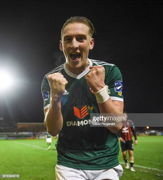 Dublin Ireland 27 February 2018 Ronan Curtis of Derry City celebrates following the SSE Airtricity League Premier Division match between Bohemians...