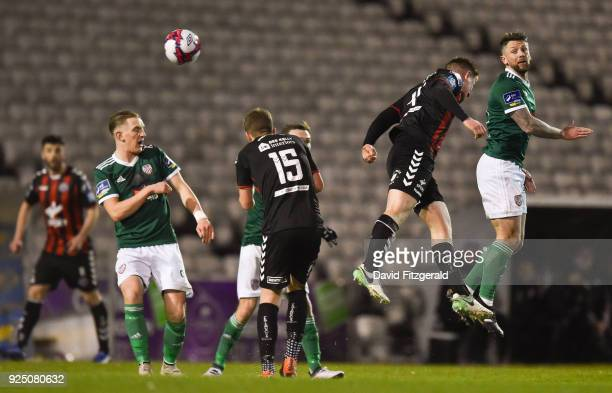 Dublin Ireland 27 February 2018 Rory Patterson of Derry City in action against Dan Casey of Bohemians during the SSE Airtricity League Premier...