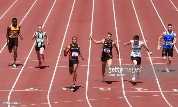 Dublin , Ireland - 27 June 2021; Leon Reid of Menapians AC, Wexford, third from left, celebrates winning the Men's 200m, ahead of Mark Smyth of...