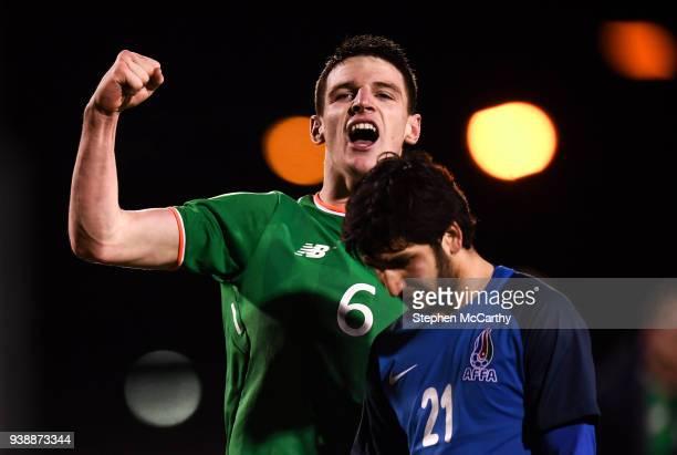 Dublin Ireland 27 March 2018 Declan Rice of Republic of Ireland celebrates as Ilkin Muradov of Azerbaijan leaves the pitch following the UEFA U21...