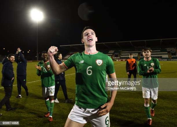 Dublin Ireland 27 March 2018 Declan Rice of Republic of Ireland celebrates following the UEFA U21 Championship Qualifier match between the Republic...