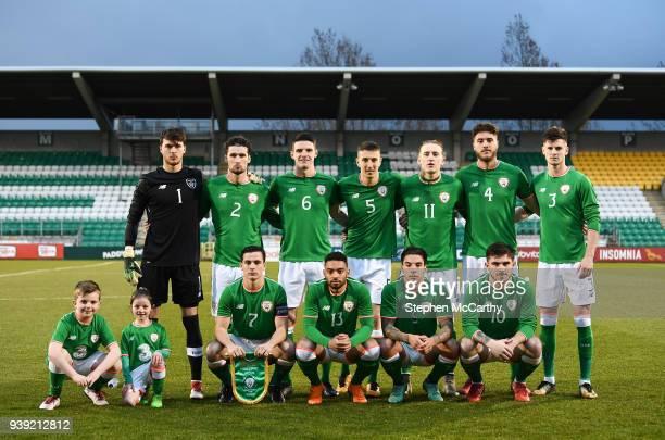 Dublin Ireland 27 March 2018 The Republic of Ireland team back row from left Kieran O'Hara Corey Whelan Declan Rice Shaun Donnellan Ronan Curtis Ryan...