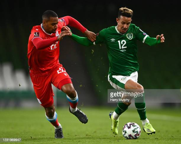 Dublin , Ireland - 27 March 2021; Callum Robinson of Republic of Ireland in action against Marvin Martins of Luxembourg during the FIFA World Cup...