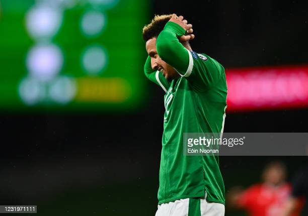 Dublin , Ireland - 27 March 2021; Callum Robinson of Republic of Ireland reacts to a missed opportunity on goal during the FIFA World Cup 2022...