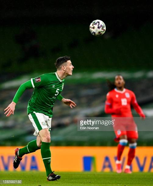 Dublin , Ireland - 27 March 2021; Ciaran Clark of Republic of Ireland during the FIFA World Cup 2022 qualifying group A match between Republic of...