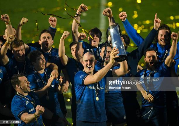Dublin , Ireland - 27 March 2021; Devin Toner of Leinster lifts the PRO14 trophy alongside teammates following the Guinness PRO14 Final match between...